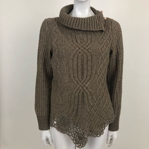 Moth Anthro  L Brown The Cabled Pathway Sweater